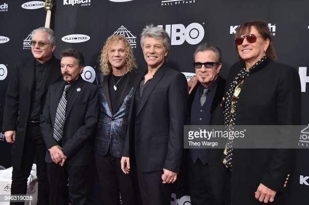 Inductees Hugh McDonald Alec John Such David Bryan John Bon Jovi Tico Torres and Richie Sambora of Bon Jovi attend the 33rd Annual Rock Roll Hall of...