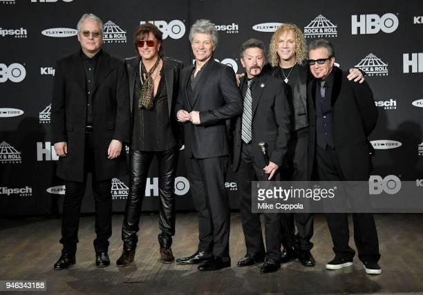 Inductees Hugh McDonald Richie Sambora Jon Bon Jovi Alec John Such David Bryan and Tico Torres of Bon Jovi attend the 33rd Annual Rock Roll Hall of...