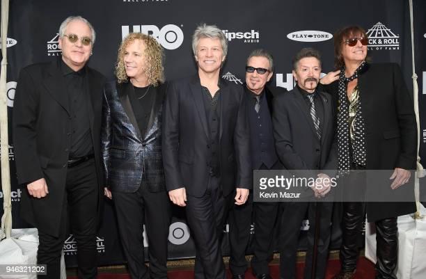 Inductees Hugh McDonaldl David Bryan Jon Bon Jovi Tico Torres Alec John Such and Richie Sambora of Bon Jovi attend the 33rd Annual Rock Roll Hall of...