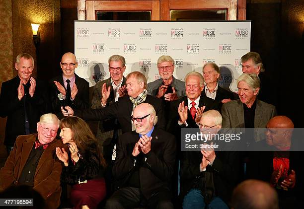Inductees including Bill Armstrong John Farnham Archie Roach Stan Rofe The Seekers and The Thunderbirds speak to the media at The Age Music Victoria...