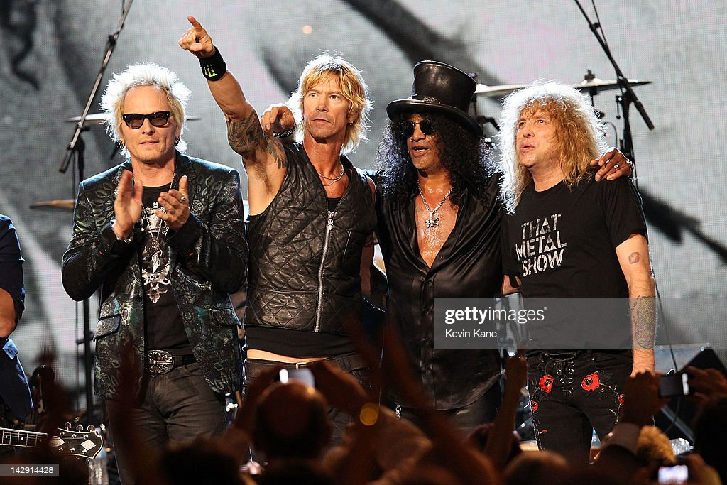 Inductees (L-R) Izzy Stradlin, Matt Sorum, Duff McKagan, Slash and Steven Adler of Guns N' Roses, perform onstage during the 27th Annual Rock And Roll Hall Of Fame Induction Ceremony at Public Hall on April 14, 2012 in Cleveland, Ohio.