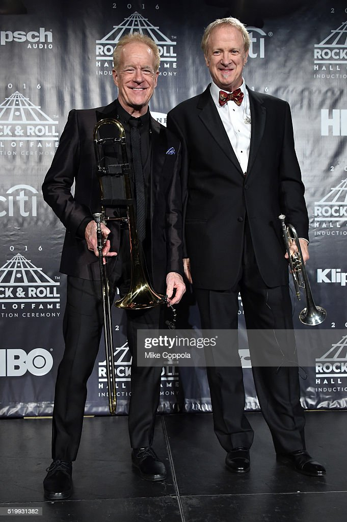Inductees James Pankow and Lee Loughnane of Chicago pose on stage in the press room at the 31st Annual Rock And Roll Hall Of Fame Induction Ceremony at Barclays Center on April 8, 2016 in New York City.