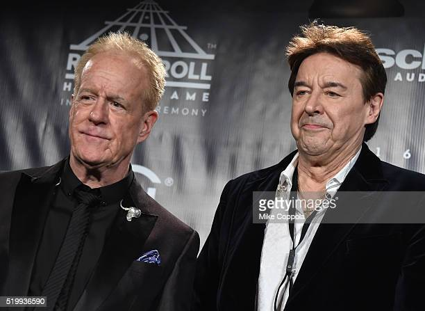 Inductees James Pankow and Walter Parazaider of Chicago attends the 31st Annual Rock And Roll Hall Of Fame Induction Ceremony at Barclays Center on...