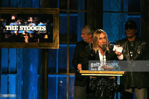 Inductees James Williamson Iggy Pop and Scott Asheton of The Stooges onstage at the 25th Annual Rock and Roll Hall of Fame Induction Ceremony at...