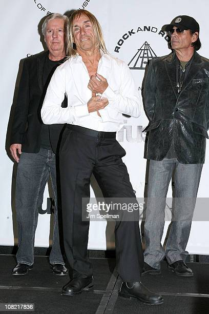 Inductees James Williamson Iggy Pop and Scott Asheton of The Stooges attend the 25th Annual Rock and Roll Hall of Fame Induction Ceremony at...