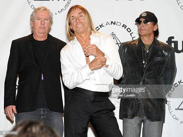 Inductees James Williamson Iggy Pop and Scott Asheton of The Stooges attend the 25th Annual Rock And Roll Hall of Fame Induction Ceremony at the...