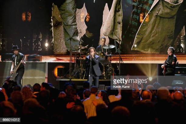 Inductees Jeff Ament Eddie Vedder and Stone Gossard of Pearl Jam performs onstage at the 32nd Annual Rock Roll Hall Of Fame Induction Ceremony at...