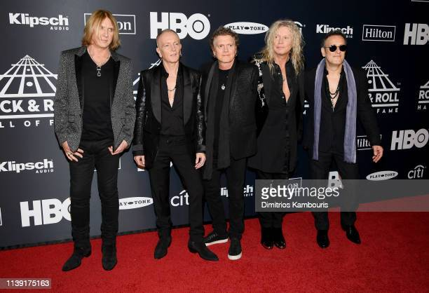 Inductees Joe Elliott Phil Collen Rick Allen Rick Savage and Vivian Campbell of Def Leppard attend the 2019 Rock Roll Hall Of Fame Induction Ceremony...