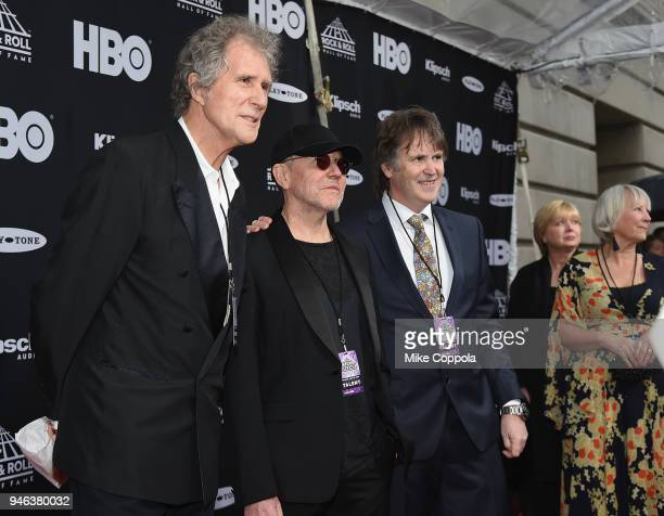 Inductees John Illsley Alan Clark and Guy Fletcher of Dire Straits attend the 33rd Annual Rock Roll Hall of Fame Induction Ceremony at Public...