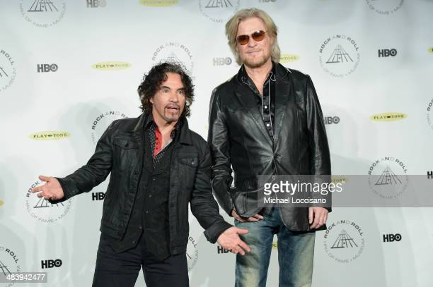 Inductees John Oates and Daryl Hall of Hall and Oates attend the 29th Annual Rock And Roll Hall Of Fame Induction Ceremony at Barclays Center of...