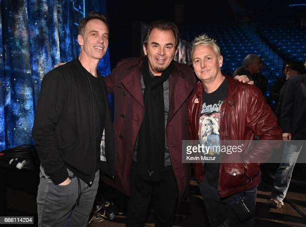 Inductees Jonathan Cain of Journey Matt Cameron and Mike McCready of Pearl Jam attend 32nd Annual Rock Roll Hall Of Fame Induction Ceremony at...