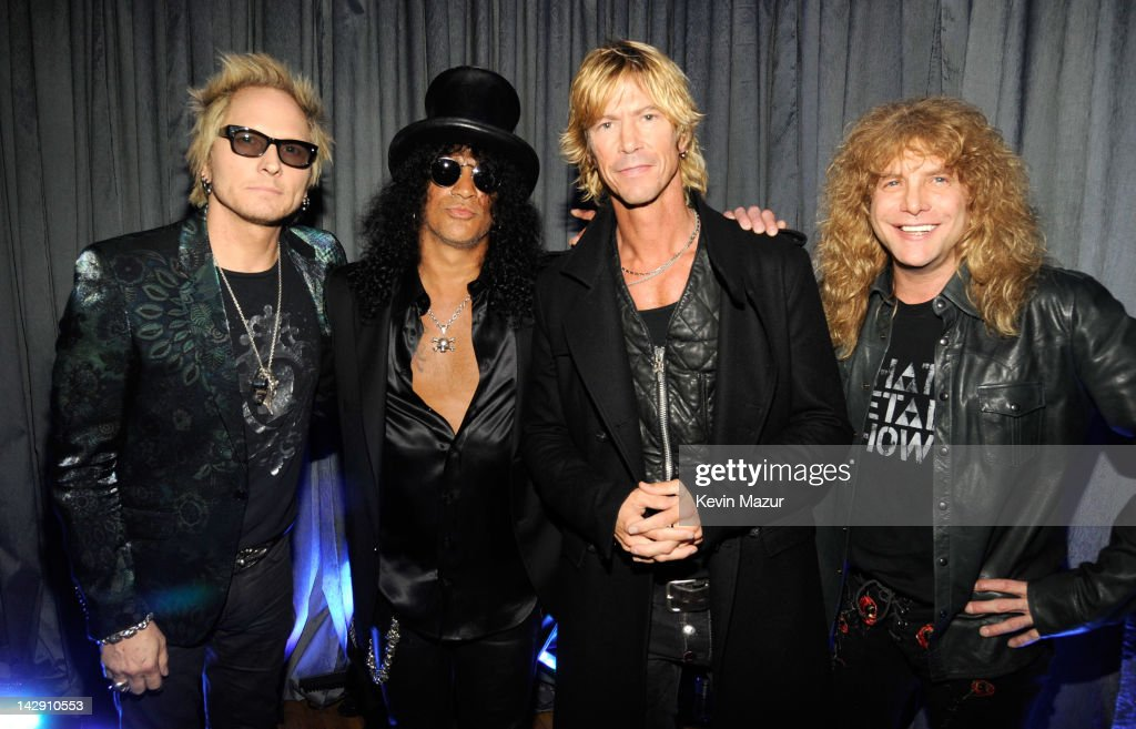 Inductees Matt Sorum, Slash, Duff McKagan and Steven Adler of Guns N' Roses attend the 27th Annual Rock And Roll Hall Of Fame Induction Ceremony at Public Hall on April 14, 2012 in Cleveland, Ohio.