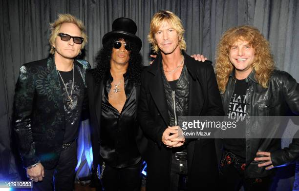 Inductees Matt Sorum, Slash, Duff McKagan and Steven Adler of Guns N' Roses attend the 27th Annual Rock And Roll Hall Of Fame Induction Ceremony at...