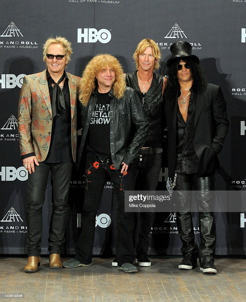 Inductees (L-R) Matt Sorum, Steven Adler, Duff McKagan and Slash of Guns N' Roses pose in the press room during the 27th Annual Rock And Roll Hall of Fame Induction Ceremony at Public Hall on April 14, 2012 in Cleveland, Ohio.