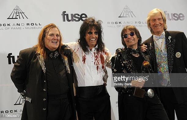 Inductees Michael Bruce Neal Smith Alice Cooper and Dennis Dunaway of The Alice Cooper Band attend the 26th annual Rock and Roll Hall of Fame...