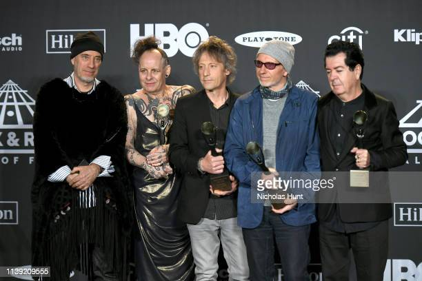 Inductees Michael Dempsey Pearl Thompson Perry Bamonte Boris Williams Lol Tolhurst of The Cure attend the 2019 Rock Roll Hall Of Fame Induction...