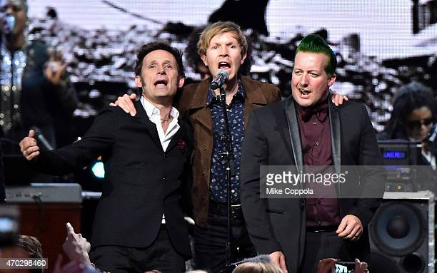 Inductees Mike Dirnt and Tre Cool of Green Day perform with Beck onstage during the 30th Annual Rock And Roll Hall Of Fame Induction Ceremony at...