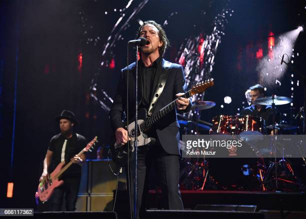 Inductees Mike McCready Matt Cameron Jeff Ament and Eddie Vedder of Pearl Jam perform onstage during the 32nd Annual Rock Roll Hall Of Fame Induction...