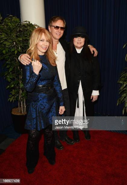 Inductees Nancy Wilson and Ann Wilson of Heart and musician Jerry Cantrell arrive at the 28th Annual Rock and Roll Hall of Fame Induction Ceremony at...