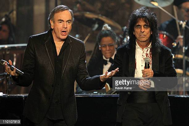 Inductees Neil Diamond and Alice Cooper perform onstage at the 26th annual Rock and Roll Hall of Fame Induction Ceremony at The Waldorf=Astoria on...
