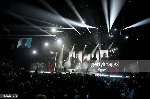 Inductees of The Cure perform onstage at the 2019 Rock Roll Hall Of Fame Induction Ceremony Show at Barclays Center on March 29 2019 in New York City