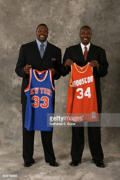 Inductees Patrick Ewing and Hakeem Olajuwon pose for a portrait on September 5 2008 at the Springfield Sheraton in Springfield Massachusetts NOTE TO...