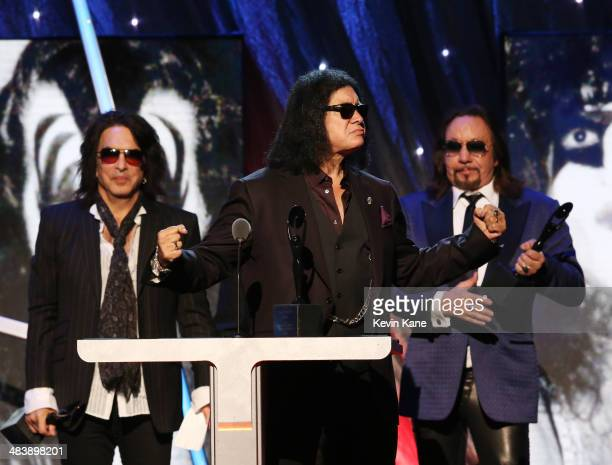 Inductees Paul Stanley, Gene Simmons and Ace Frehley of KISS speak onstage at the 29th Annual Rock And Roll Hall Of Fame Induction Ceremony at...
