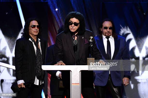 Inductees Paul Stanley Gene Simmons and Ace Frehley of KISS speak onstage at the 29th Annual Rock And Roll Hall Of Fame Induction Ceremony at...