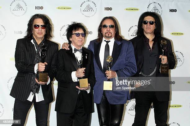 Inductees Paul Stanley, Peter Criss, Ace Frehley and Gene Simmons of KISS attend the 29th Annual Rock And Roll Hall Of Fame Induction Ceremony at...