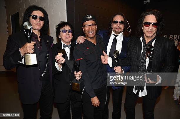 Inductees Paul Stanley, Peter Criss, Ace Frehley and Gene Simmons of KISS pose with musician Tom Morello at the 29th Annual Rock And Roll Hall Of...
