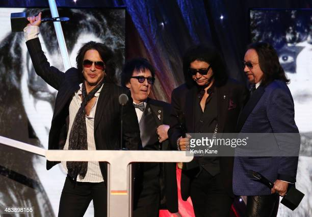 Inductees Paul Stanley, Peter Criss, Gene Simmons and Ace Frehley of KISS speak onstage at the 29th Annual Rock And Roll Hall Of Fame Induction...