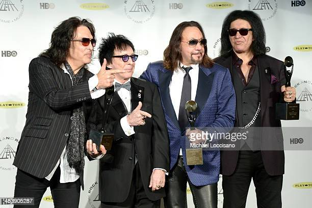 Inductees Paul Stanley Peter Criss Gene Simmons and Ace Frehley of KISS attend the 29th Annual Rock And Roll Hall Of Fame Induction Ceremony at...