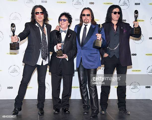 Inductees Paul Stanley, Peter Criss, Gene Simmons, and Ace Frehley of KISS attend the 29th Annual Rock And Roll Hall Of Fame Induction Ceremony at...