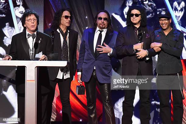 Inductees Peter Criss Paul Stanley Ace Frehley Gene Simmons of KISS and Tom Morello speak onstage at the 29th Annual Rock And Roll Hall Of Fame...