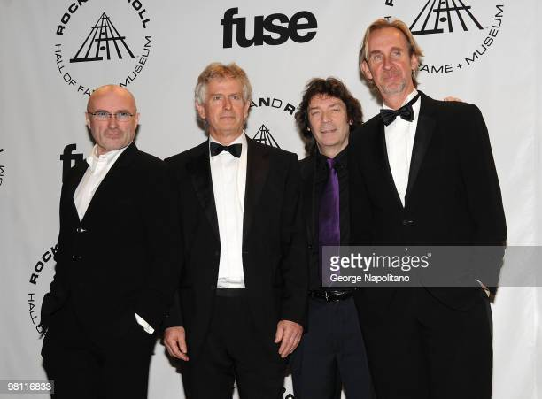 Inductees Phil Collins, Tony Banks, Steve Hackett and Mike Rutherford of Genesis attend the 25th Annual Rock And Roll Hall Of Fame Induction Ceremony...