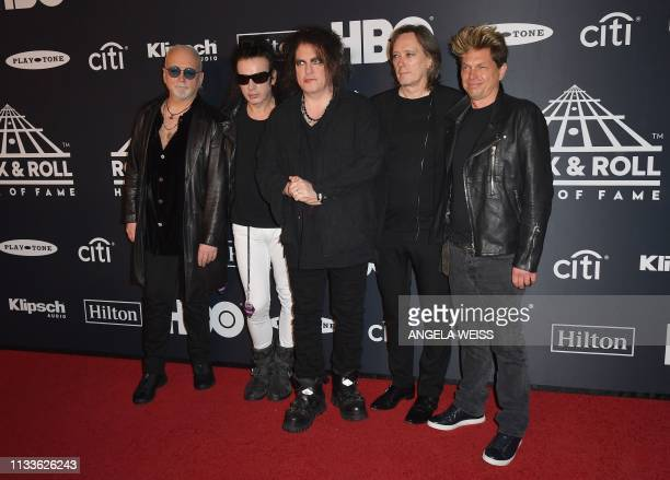 Inductees Reeves Gabrels Simon Gallup Robert Smith Roger O'Donnell and Jason Cooper of The Cure attend the 34th Annual Rock Roll Hall of Fame...