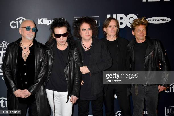Inductees Reeves Gabrels Simon Gallup Robert Smith Roger O'Donnell and Jason Cooper of The Cure attend the 2019 Rock Roll Hall Of Fame Induction...