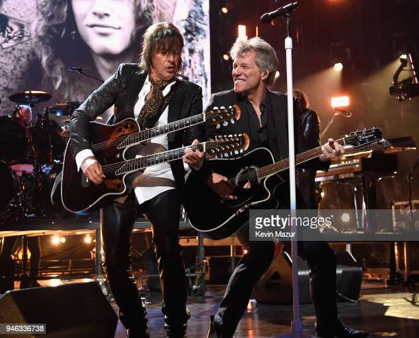 Inductees Richie Sambora and Jon Bon Jovi of Bon Jovi perform during the 33rd Annual Rock Roll Hall of Fame Induction Ceremony at Public Auditorium...