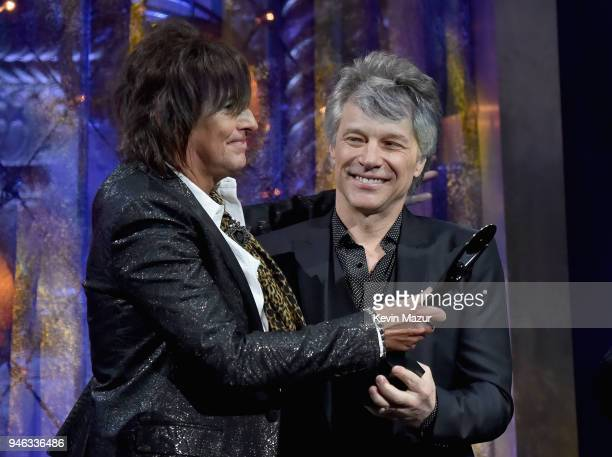 Inductees Richie Sambora and Jon Bon Jovi of Bon Jovi speaks onstage during the 33rd Annual Rock Roll Hall of Fame Induction Ceremony at Public...
