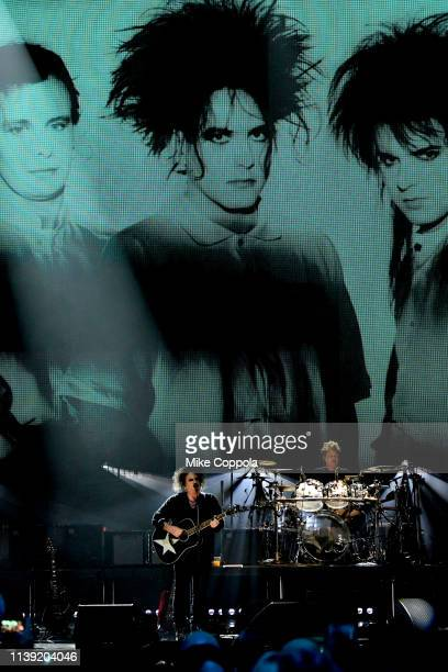 Inductees Robert Smith and Roger O'Donnell of The Cure perform onstage at the 2019 Rock Roll Hall Of Fame Induction Ceremony Show at Barclays Center...