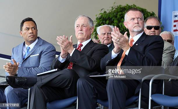 Inductees Roberto Alomar Pat Gillick and Bert Blyleven look on at Clark Sports Center during the Baseball Hall of Fame induction ceremony on July 24...