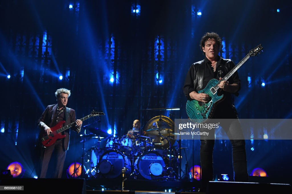 Inductees Ross Valory and Neal Schon of Journey perform onstage at the 32nd Annual Rock & Roll Hall Of Fame Induction Ceremony at Barclays Center on April 7, 2017 in New York City. The event will broadcast on HBO Saturday, April 29, 2017 at 8:00 pm ET/PT