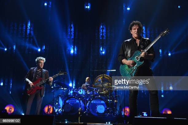 Inductees Ross Valory and Neal Schon of Journey perform onstage at the 32nd Annual Rock & Roll Hall Of Fame Induction Ceremony at Barclays Center on...