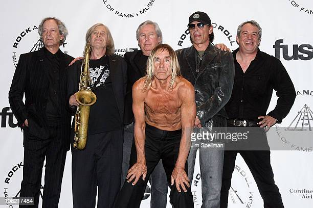Inductees Scott Thurston Steve Mackay James Williamson Iggy Pop Scott Asheton and Mike Watt of The Stooges attend the 25th Annual Rock and Roll Hall...