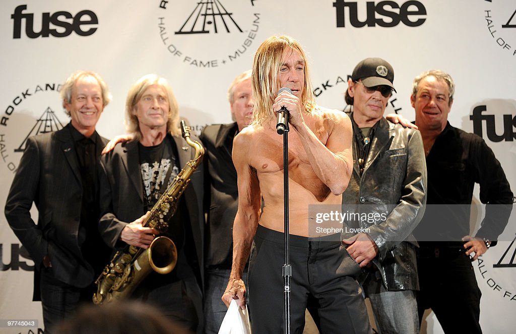 Inductees (L-R) Scott Thurston, Steve Mackay, James Williamson (top C), Iggy Pop (bottom C), Scott Asheton and Mike Watt of The Stooges attend the 25th Annual Rock and Roll Hall of Fame Induction Ceremony at Waldorf=Astoria on March 15, 2010 in New York, New York.