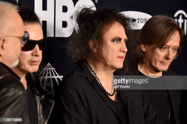 Inductees Simon Gallup Robert Smith and Roger O'Donnell of The Cure attend the 2019 Rock Roll Hall Of Fame Induction Ceremony at Barclays Center on...