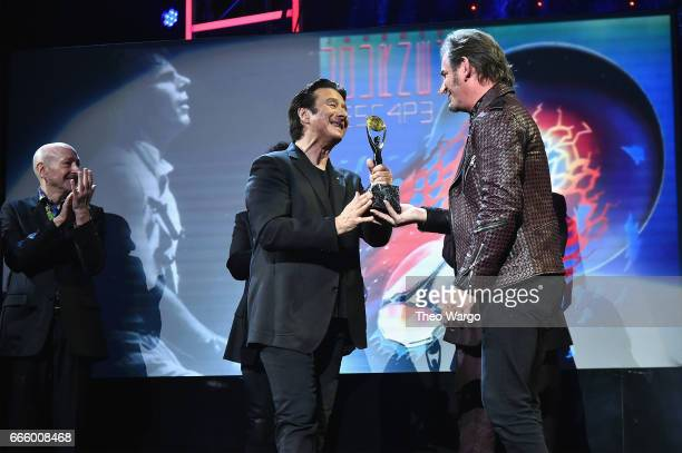Inductees Steve Perry and Jonathan Cain of Journey speak onstage at the 32nd Annual Rock Roll Hall Of Fame Induction Ceremony at Barclays Center on...