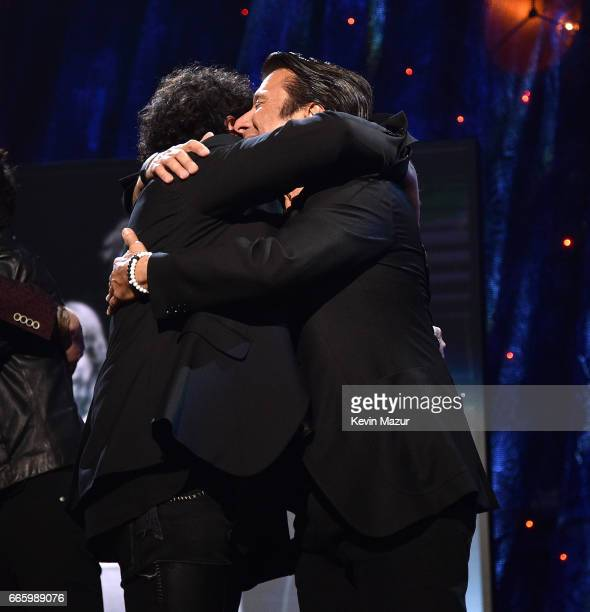 Inductees Steve Perry and Neal Schon of Journey speak onstage during the 32nd Annual Rock Roll Hall Of Fame Induction Ceremony at Barclays Center on...