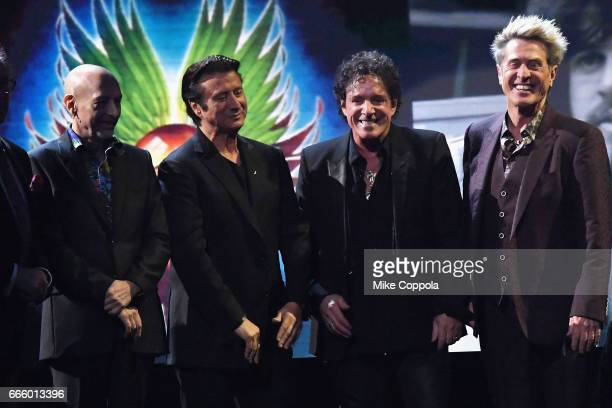 Inductees Steve Smith Steve Perry Neal Schon and Ross Valory of Journey onstage at the 32nd Annual Rock Roll Hall Of Fame Induction Ceremony at...