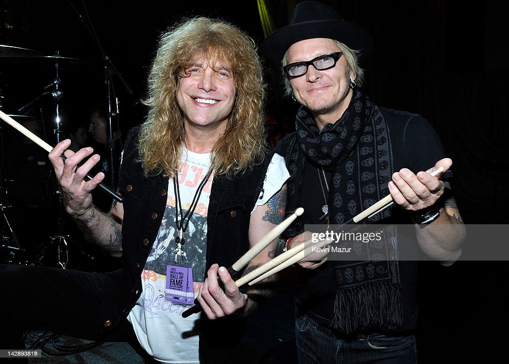 Inductees Steven Adler and Matt Sorum of Guns N' Roses attend the 27th Annual Rock And Roll Hall Of Fame Induction Ceremony at Public Hall on April 14, 2012 in Cleveland, Ohio.